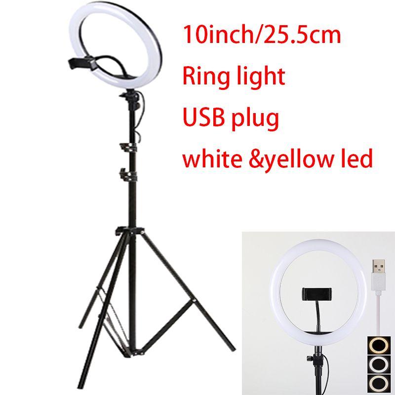 10 pouces 25 cm USB charge nouveau Selfie anneau lumière Flash caméra LED téléphone photographie amélioration photographie pour Smartphone Studio VK