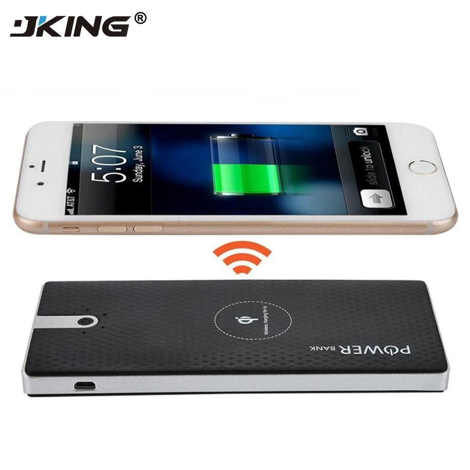 JKING 10000mAh Qi Wireless Chager Power Bank Dual USB 5V2A Output External Battery Pack for iphone X 8 8Plus Samsung Note8 S7 S9
