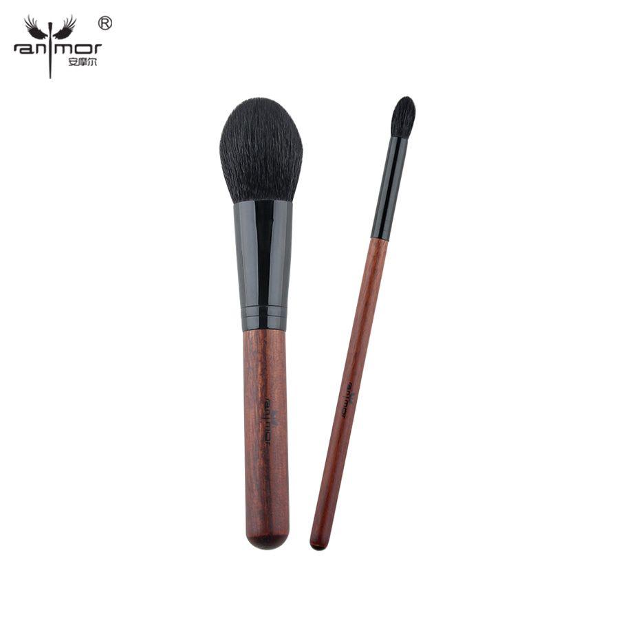 Ensemble de pinceaux de maquillage professionnel Anmor 2 pièces pinceau en poudre de cheveux de chèvre doux pinceau de mélange Excellent Kit de pinceau fard à paupières H20