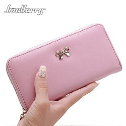 2017 women long clutch Wallets female Fashion PU Leather Bowknot coin bag phone purses Famous designer lady cards holder wallet