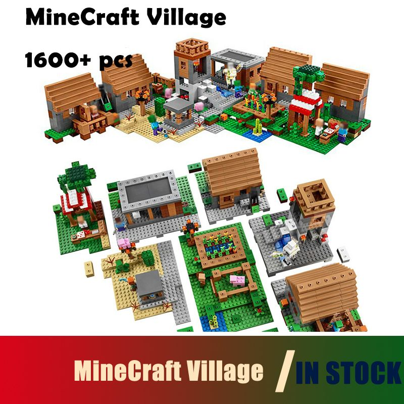 Compatible with lego 1600+pcs Model building kits my worlds MineCraft Village blocks Educational toys hobbies for children