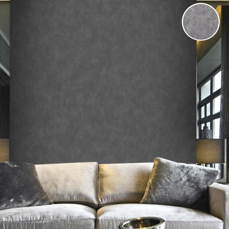 Vintage Plain Solid Abstract Concrete Cement Wallpaper Charcoal Black / Silver grey Wall Paper Roll For Bedroom Living Room Deco