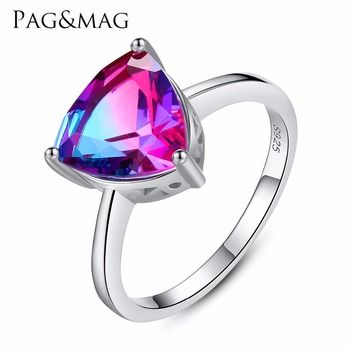 PAG&MAG Vintage Jewelry  Amethyst 925 Sterling Silver Ring Rainbow Nature Triangle Topaz Women Wedding Anel Aneis Gemstone Ring