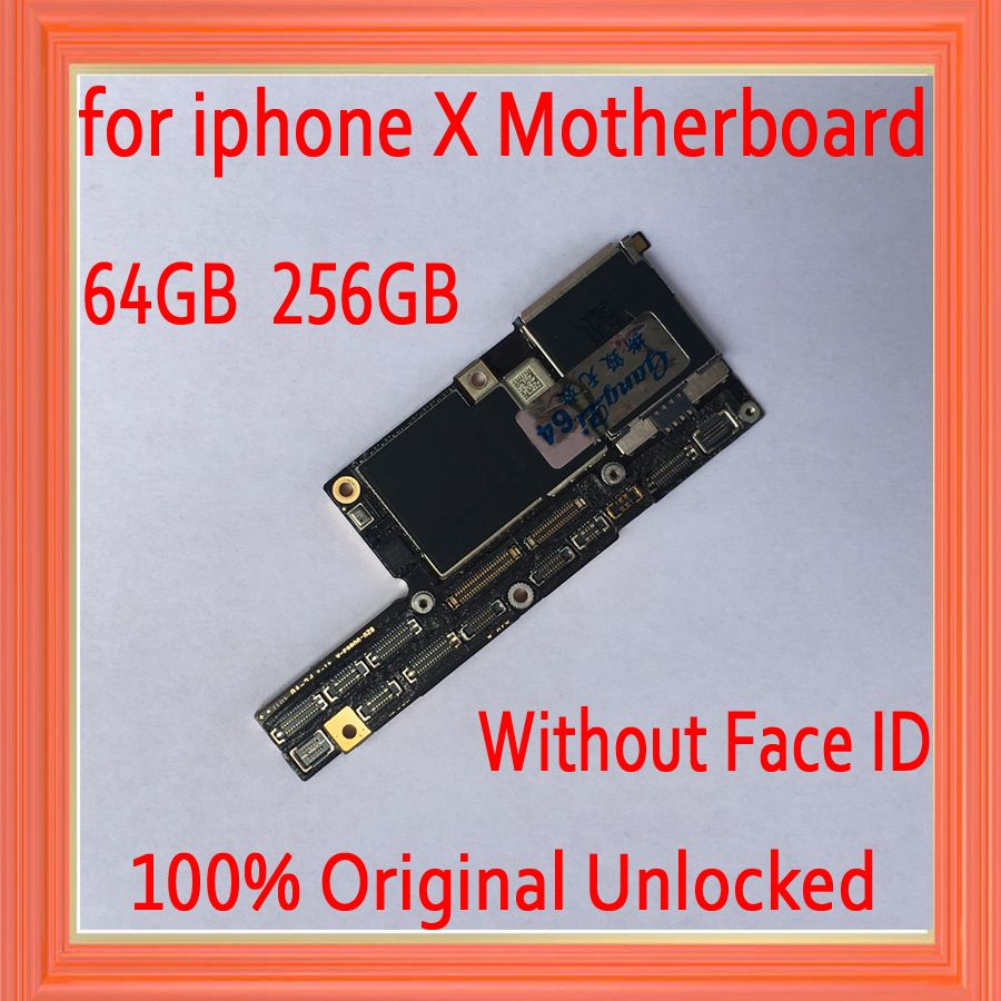 64GB 256GB Factory unlocked for iphone X Motherboard unlocked,100% Original for iphone x Motherboard without Face ID,Free iCloud