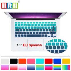 HRH UK/UE ESP español teclado del silicón del arco iris del gradiente cubierta teclado protector de piel para MacBook Air pro retina 13 15 17 para Mac
