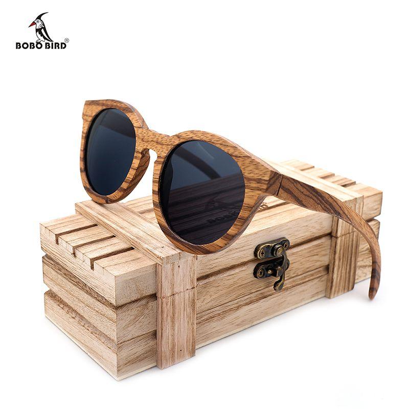 BOBO BIRD Polarized Round Sun Glasses Women Zebra Wood Sunglasses Men With Wooden  Box Oculos De Sol Feminino C-AG009a Drop Ship