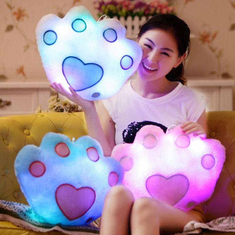 Cambio de Color de alta Calidad Luminosa de la Pata de Oso Almohada de Felpa Suave almohada Almohada Luz Led Night Light Kids Juguete Cojín Niñas regalos