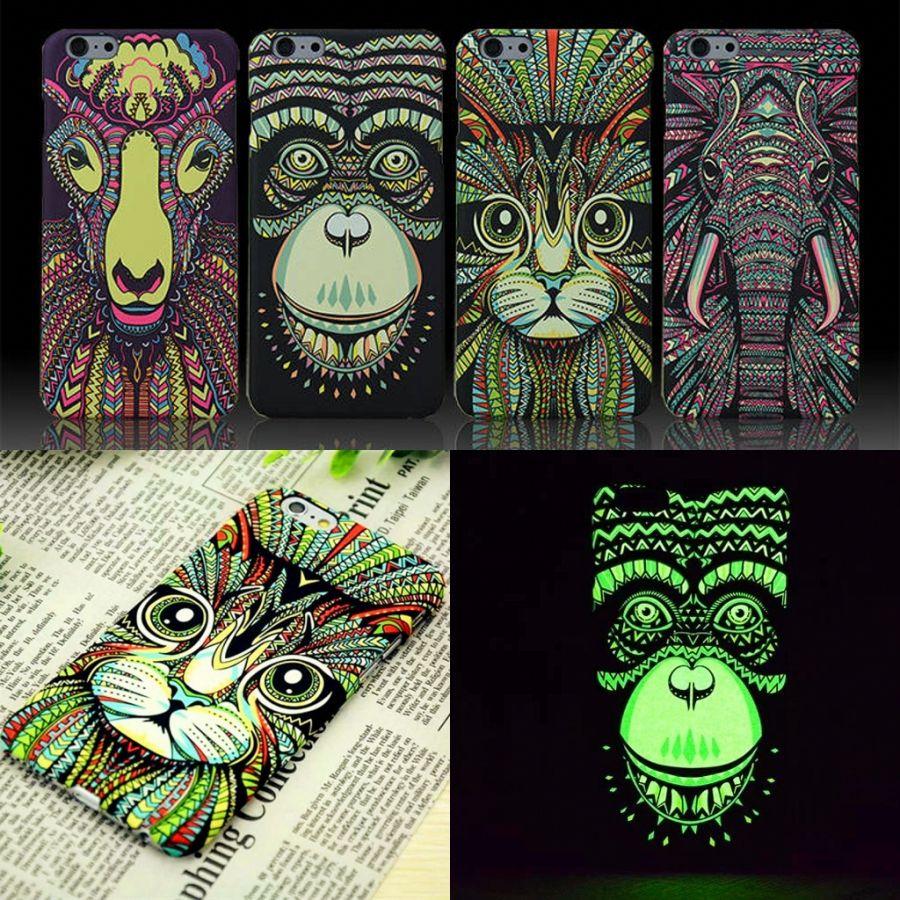 Tiere Lion Wolf Eule Muster Hart Zurück Telefon-kasten Für iPhone X 8 7 6 6 s Plus 5 5 s Floureszierende Luminous Wald König fall