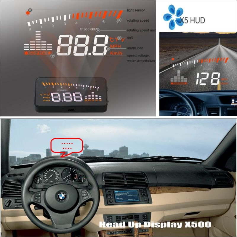 Car HUD Safe Drive Display For BMW X5 E53 E70 / X6 E71 - Refkecting Windshield Head Up Display Screen Projector