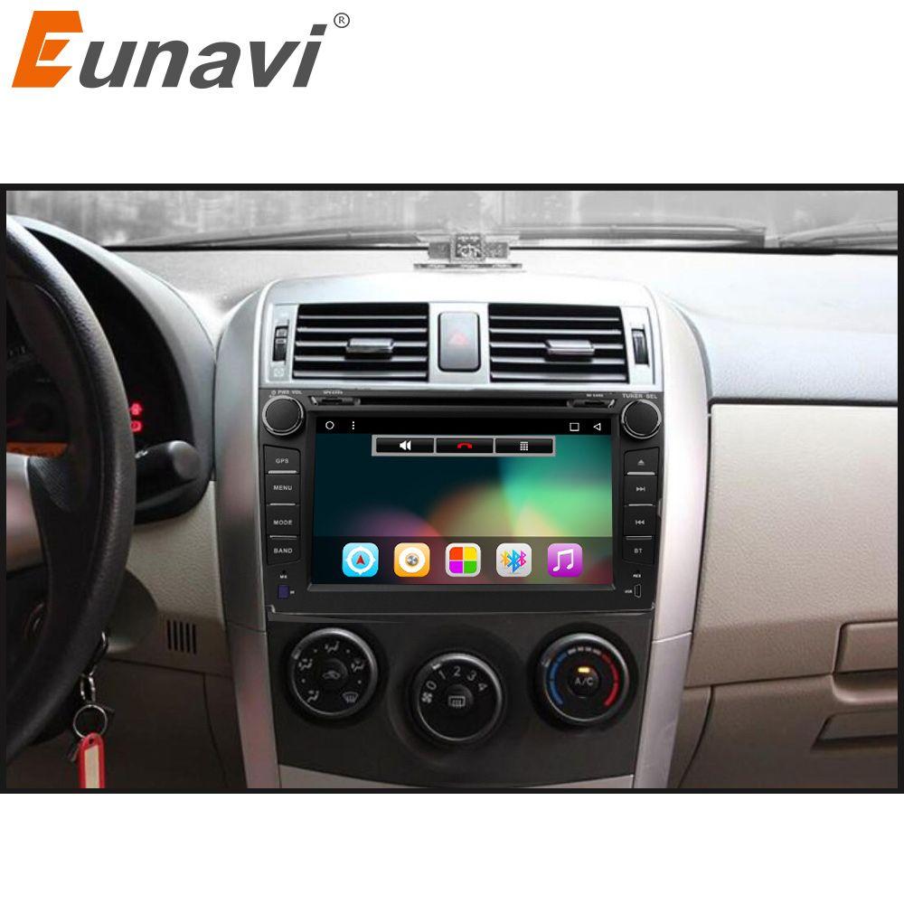 Eunavi 2 din Android 6.0 car dvd player gps for Toyota Corolla 2007 2008 2009 2010 2011 8 inch 1024*600 screen car stereo radio