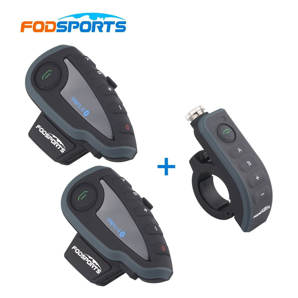 2 *V8 Intercom with 1 * Remote Controller! V8 interphone Motorcycle Bluetooth Helmet Headset Intercom with FM NFC for 5 Riders