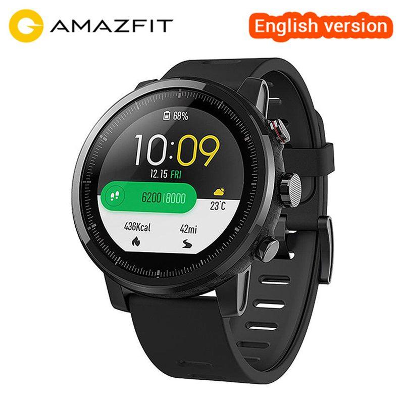 Original Xiaomi Huami Amazfit Stratos Smart Sportuhr 2 Englisch Version Smartwatch 5ATM Wasserdichte GPS Glonass Armbanduhr
