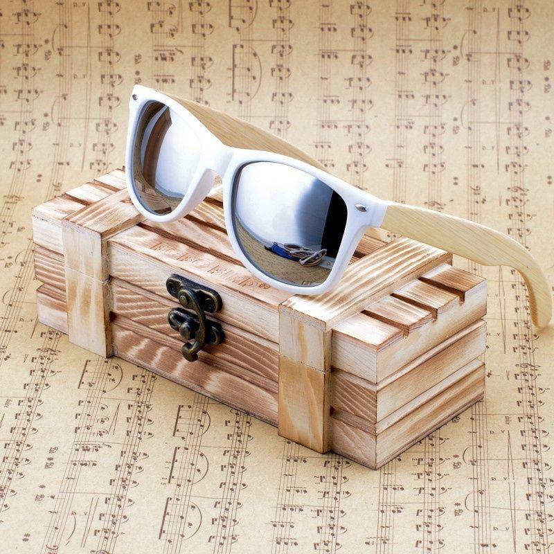 BOBO OISEAU Femmes Hommes Bambou En Bois lunettes de Soleil Blanc Cadre lunettes Avec Revêtement Miroir UV 400 Protection Lentilles dans Boîte En Bois