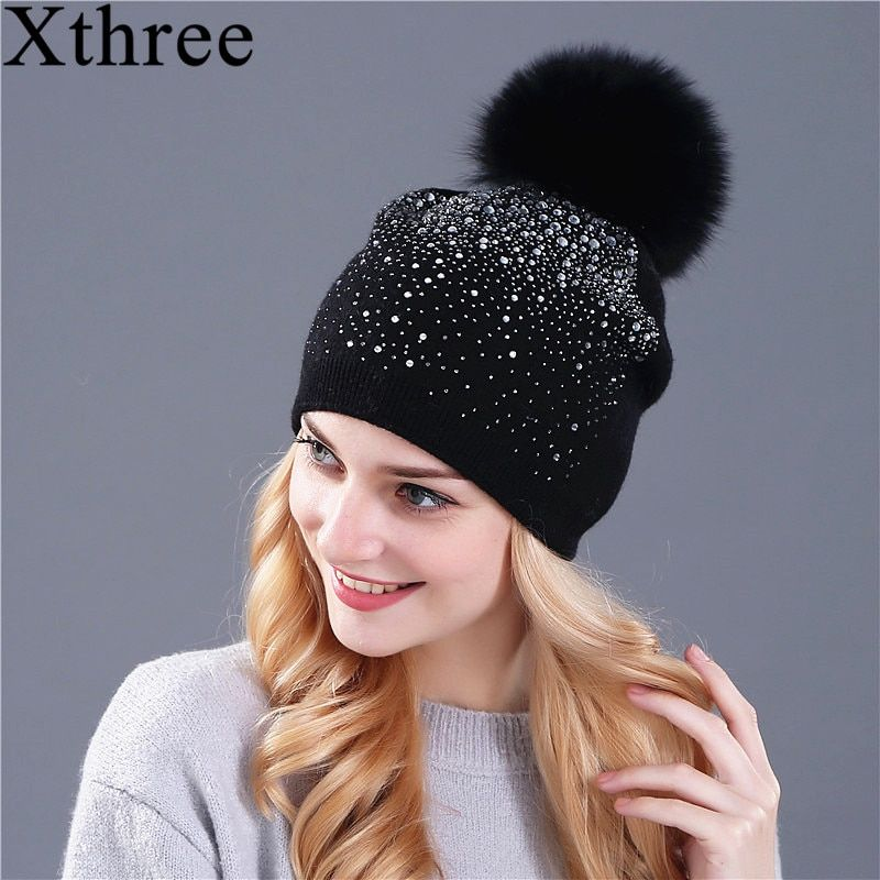 [Xthree] women winter beanie hat Rabbit fur wool knitted hat the female of the mink pom pom Shining <font><b>Rhinestone</b></font> hats for women