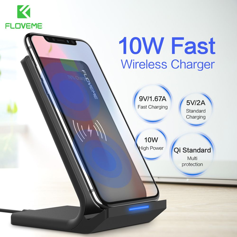 FLOVEME 10W Wireless Charger For Samsung Galaxy S9 S8 S7 <font><b>Edge</b></font> Wireless Charging QI Wireless Charger Fast For iPhone 8 X Plus Pad