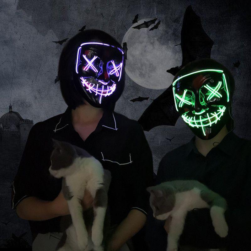 Masque LED Halloween fête Masque mascarade masques néon Maske lumière lueur dans le noir Mascara horreur Maska brillant Masker Purge
