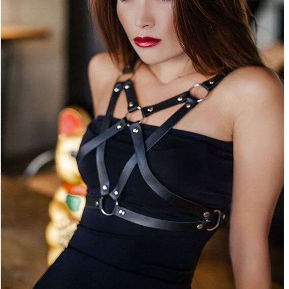 Harness gothic Sexy Fashion Punk PU leather Harness Star Pentagram Body Bondage Pentacle Star Waist Straps Belts suspenders