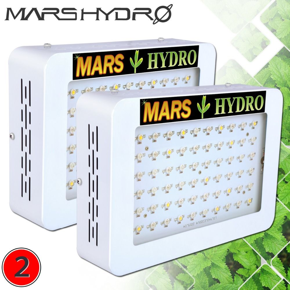 2PCS Mars 300 Full Spectrum LED Grow Lights for Medical Indoor Plants Hydro Garden Greenhouse Herbs