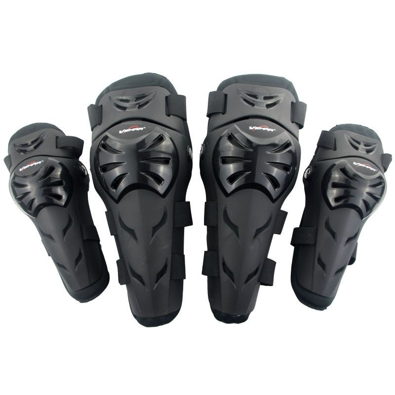 Vemar E02 Motorcycle Motocross Off-Road Racing Elbow&Knee Pads Set Safety Guards Protective Gear Extreme Sport Protectors Black