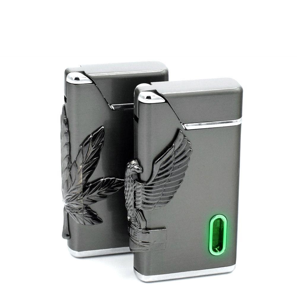 Creative Butane Flame Cigar Lighter Refillable Gas Windproof Torch Green LED