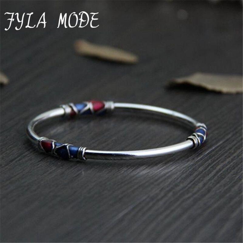 Fyla Modus Cloisonne Bangle 100% 925 Sterling Silber Armband Für Männer Frauen Thai Silber Schmuck PKY296