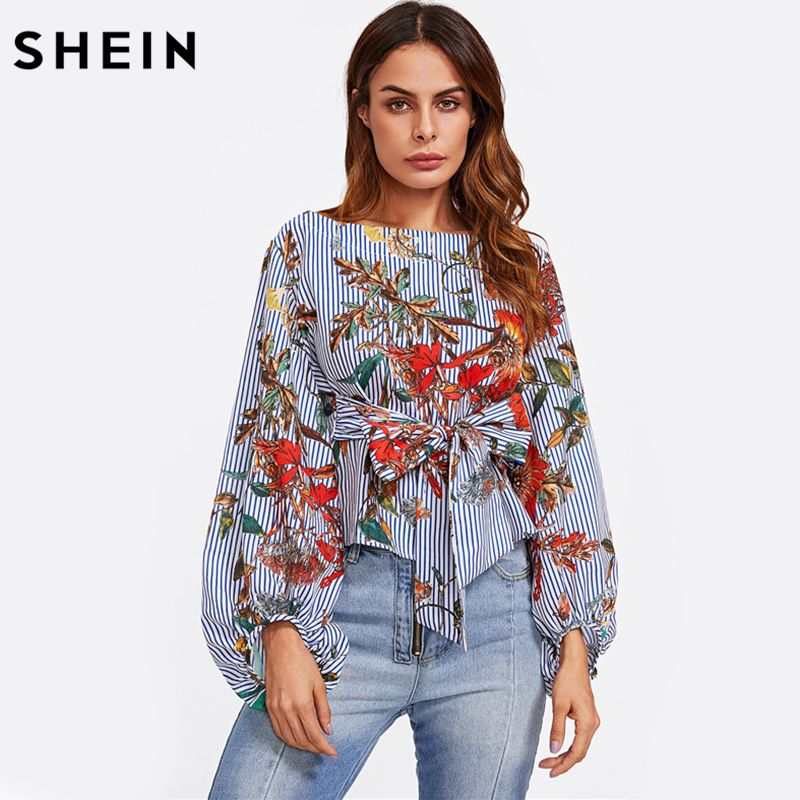 SHEIN Exaggerated Lantern Sleeve <font><b>Belted</b></font> Mixed Print Blouse Womens Long Sleeve Tops Autumn Blue Striped Floral Blouse