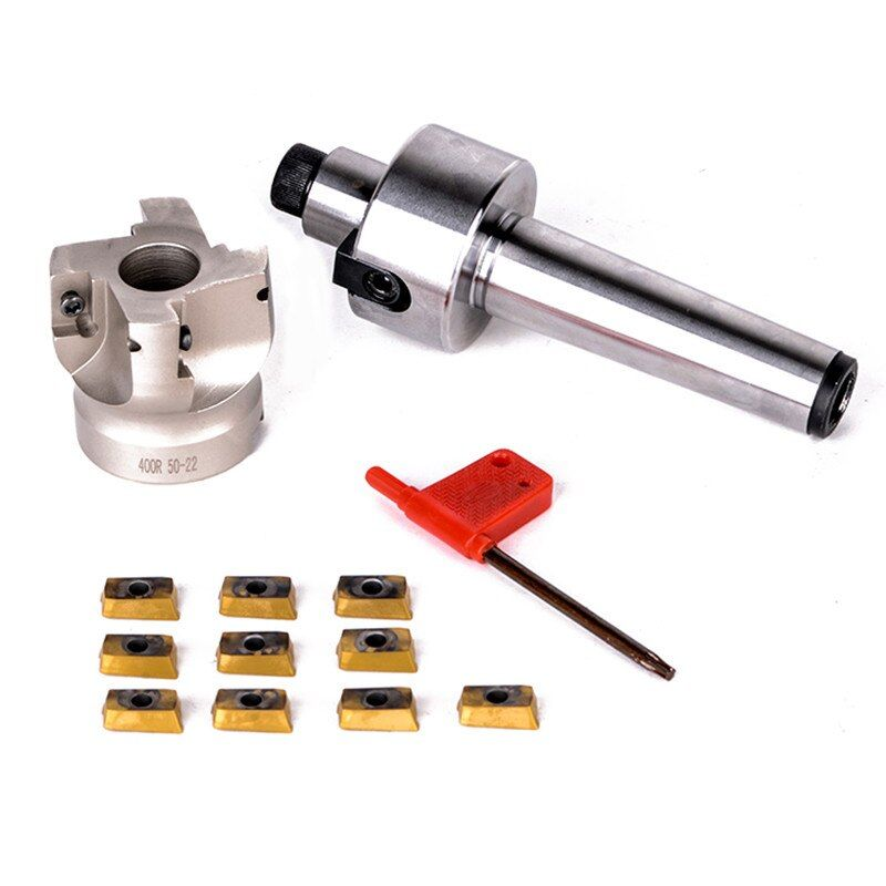 New MT3-FMB22-M12 Shank 400R 50-22 Face Milling CNC Cutter + 10pcs APMT1604 Inserts For Power Tool