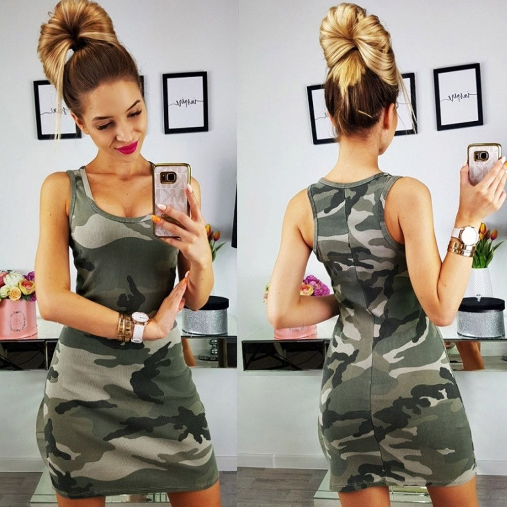 2019 New Summer Fashion Women Sexy Tank Dress Slim Casual Camouflage Military O-Neck Print Splice Empire Mini Dresses Vestidos