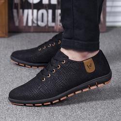 Musim Semi/Musim Panas Pria Sepatu Bernapas Pria Sepatu Kasual Fashion Rendah Renda-Up Kanvas Sepatu Datar Zapatillas Hombre PLUS ukuran 45,46, 47
