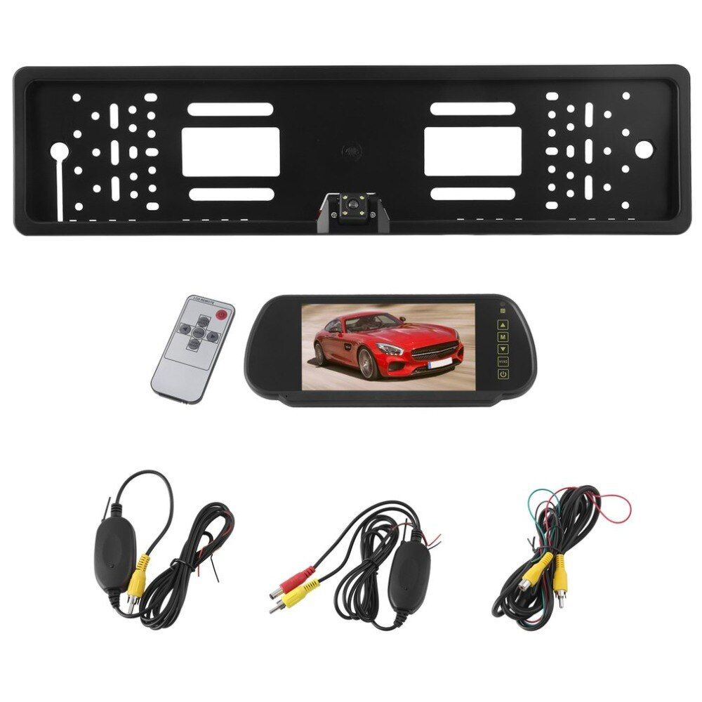 1 Set Viewing Angle European License Plate Frame Camera+ Wireless 7 Inch Display Monitor Rear View Camera 170 Degrees