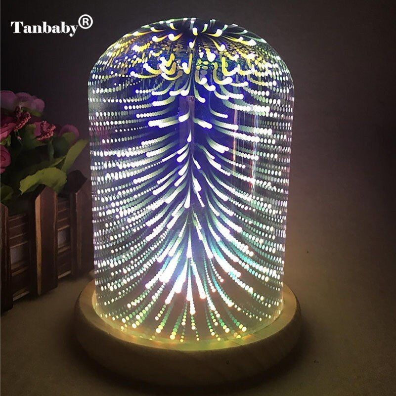 Tanbaby 3D Starburst Night Light Fireworks Star Heart LED Table Lamp Color Changing Decorative Gift Lamp For Home Bedroom