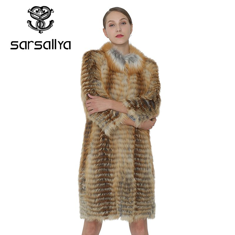 SARSALLYA Women Real Fox Coat Long Coat Women Genuine Vest Winter Fashion Warm Natural Fox Fur Coat Female Clothing Overcoat