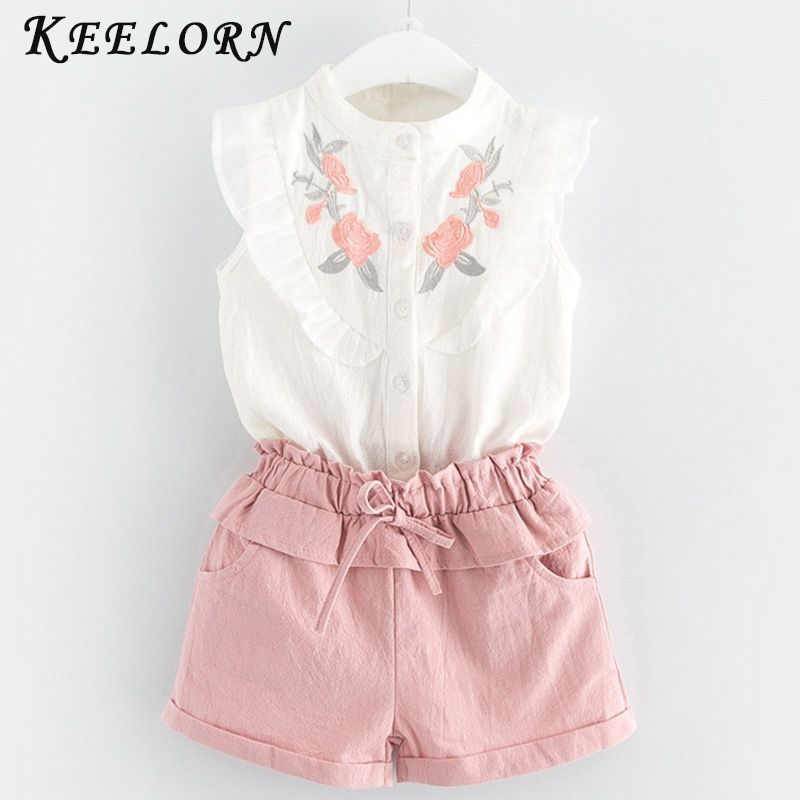 Keelorn Girls Clothing Sets 2017 Summer Style Girls Clothes O-neck Solid T-Shirt + Shorts 2-piece Suit Kids Clothes foe 3-7Y