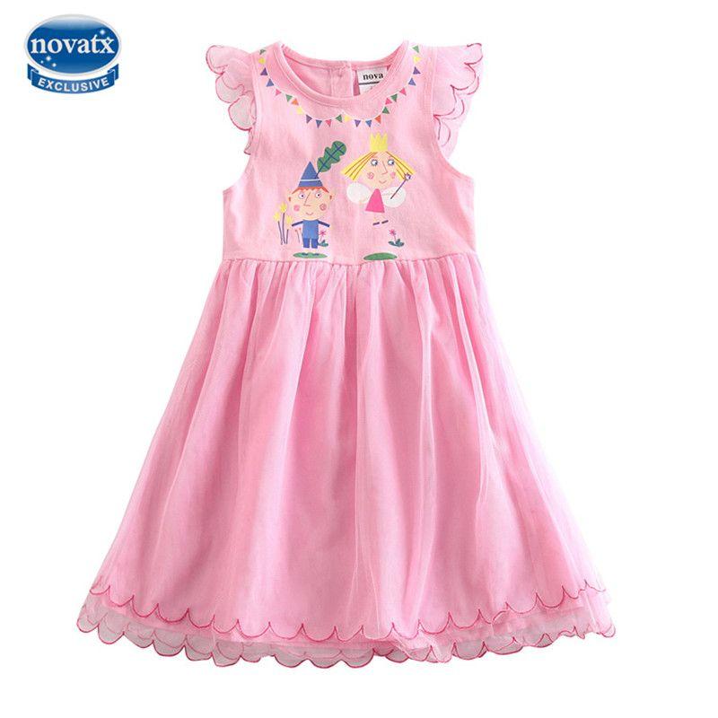 2015 Nova Rosa nueva niña vestido nuevo diseño 100% algodón dibujos animados imprimir sin mangas verano niñas vestido