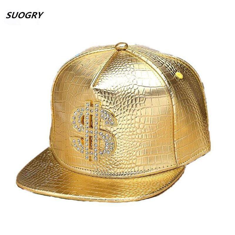 Faux cuir casquettes de Baseball or Dollar $ Logo avec Bling Hiphop Gorras Snapback chapeau réglable mode Cool Casquette pour unisexe