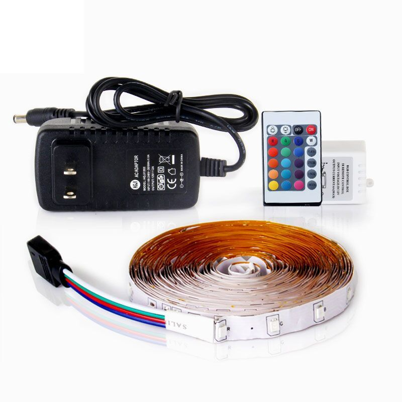 RGB LED Strip Light 5M SMD2835 Flexible Fita Led with Remote Controller 12V 2A Power Supply Ribbon Light for Home Decoration