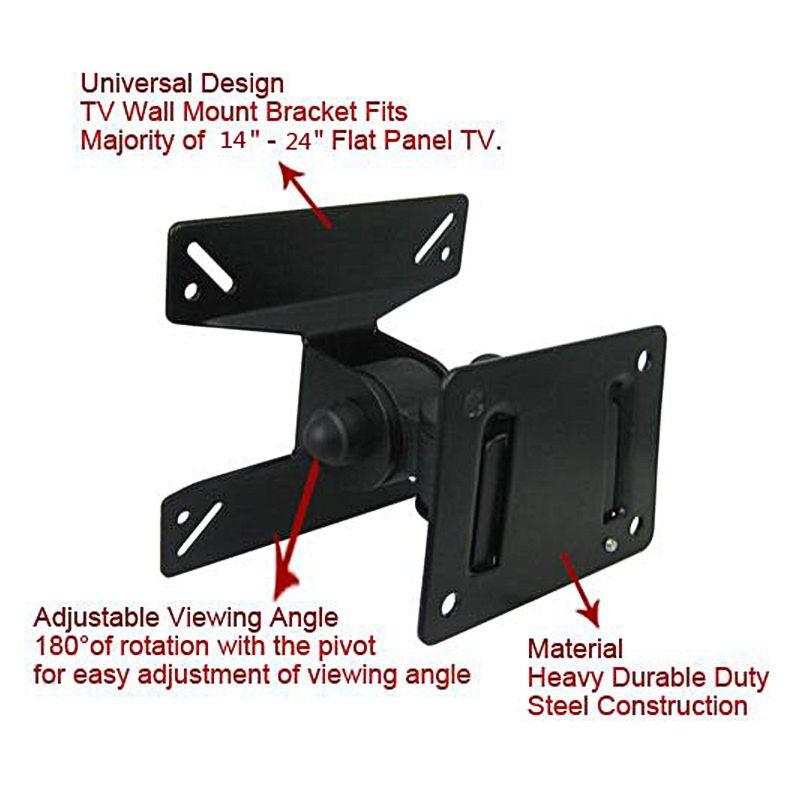 Universel 180 Degrés Tourné SPHC Support Mural TV 14-24 Pouces LCD LED Falt Panneau Plasma Pivotant TV Support de Support