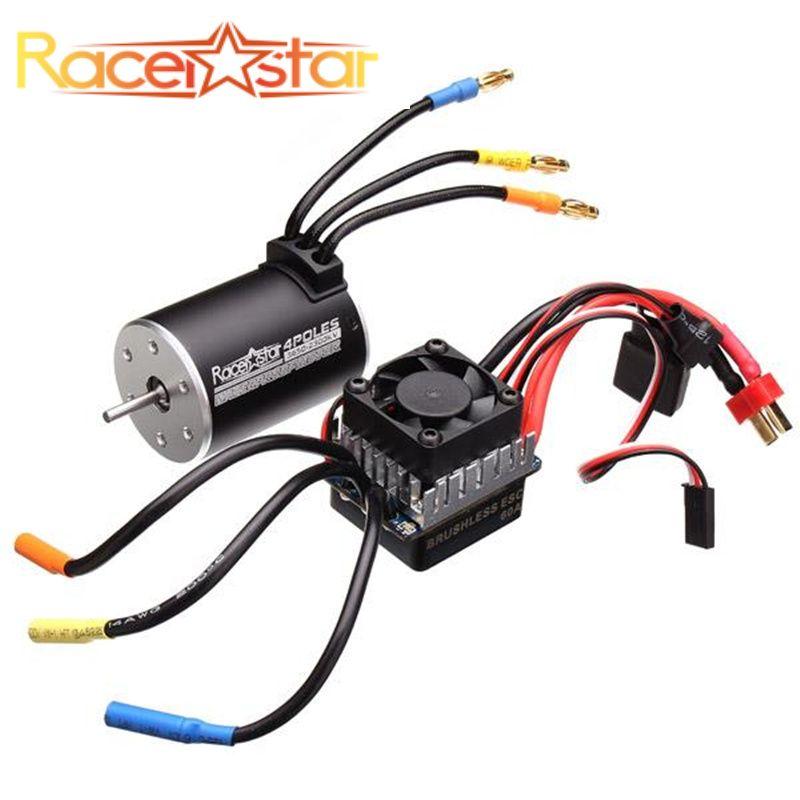 Racerstar 3650 Sensorless Brushless Waterproof Motor 60A ESC Set For 1/10 Monster 1:10 Truck Truggy Cars