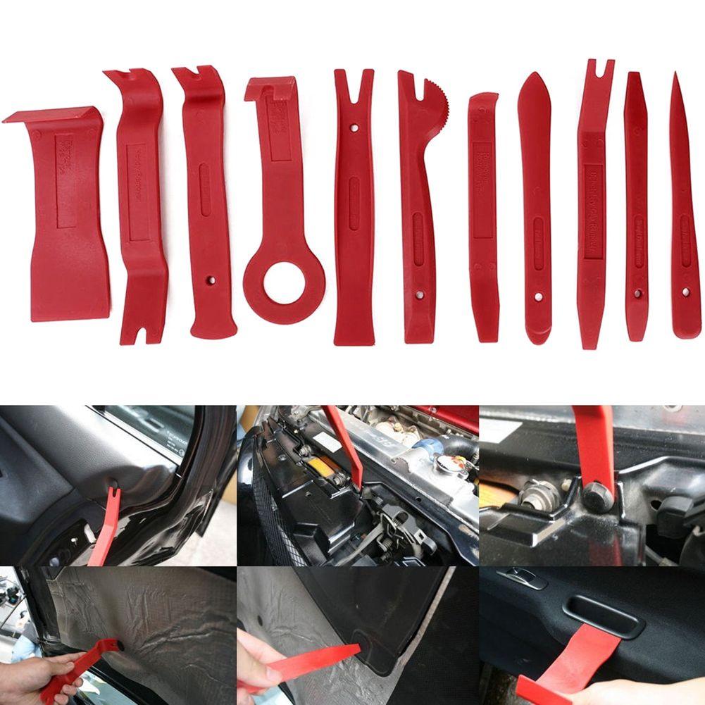 11 pièces Auto voiture stéréo garniture tableau de bord intérieur porte Clip panneau solvant levier ouverture outil Kit tournevis réparation outil ensemble