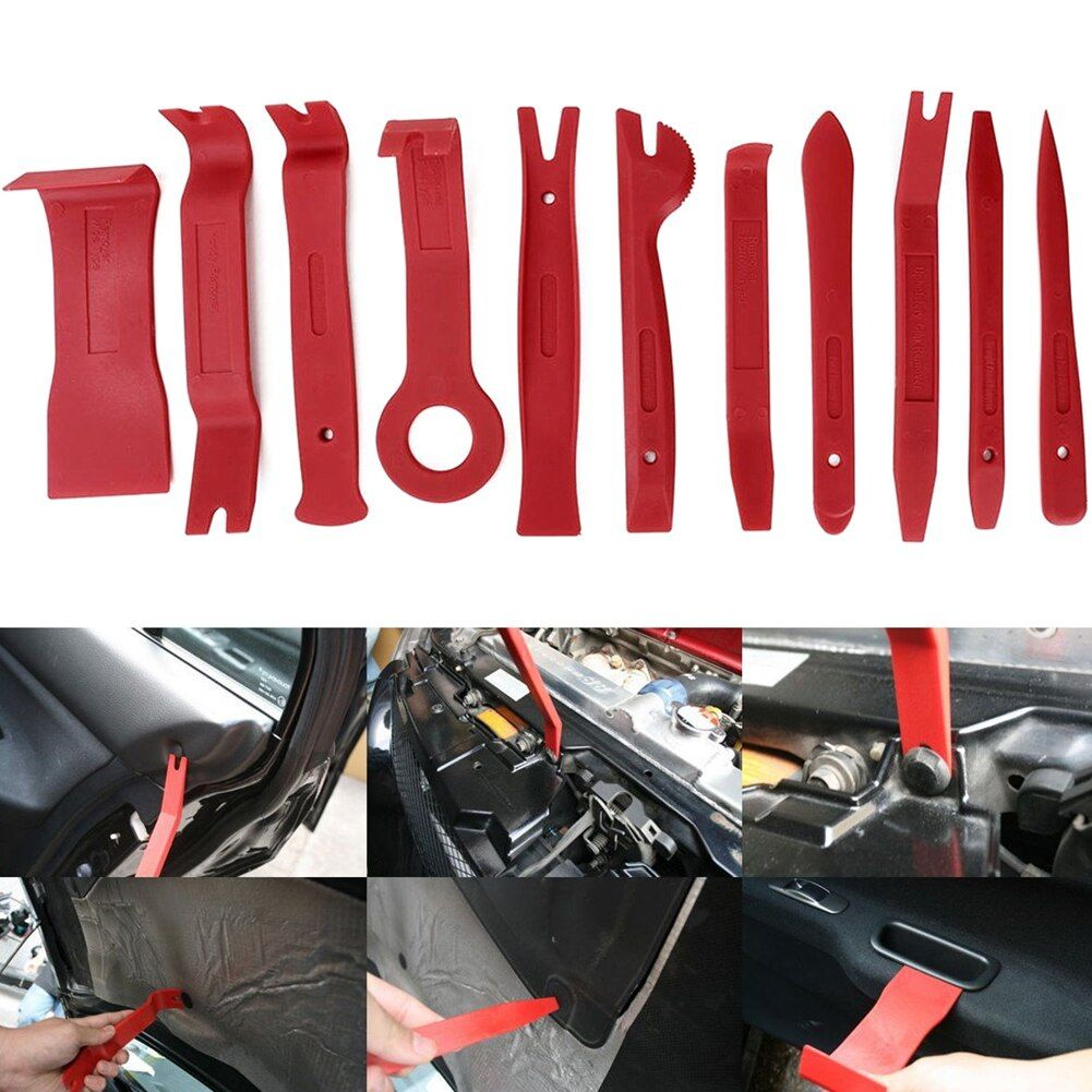 11Pcs Auto Car Radio Panel Interior Door Clip Panel Pry Tool Trim Dashboard Removal Opening Tool Set DIY Car Pry Repair Tool Kit