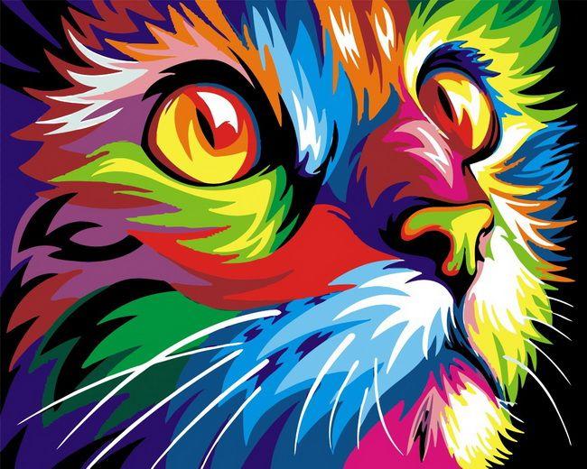 Sans cadre bricolage peintures à l'huile par numéros chat image par numéros pour la décoration de la maison toile peinture 4050 coloré kitty