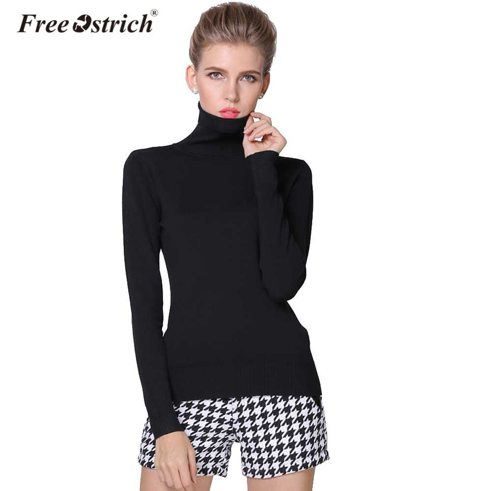 Free Ostrich Sweater Women High Quality Turtleneck Pullover Winter Tops Solid Sweater Autumn Female Sweater Hot Sale