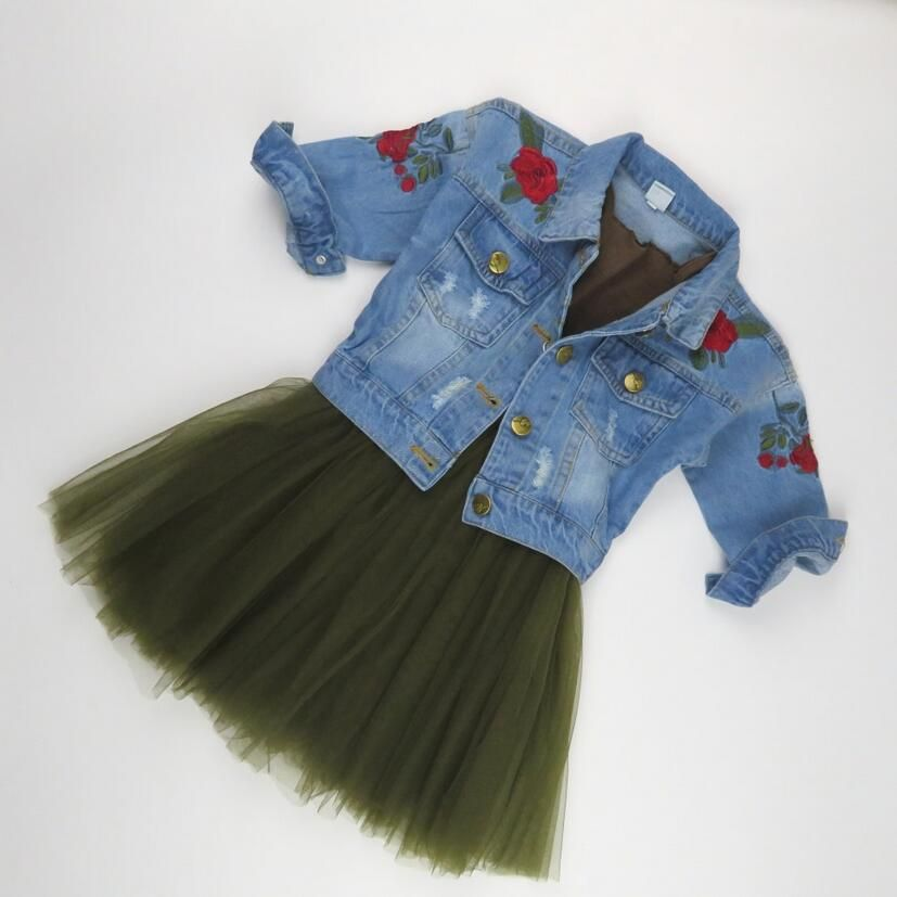 2017 Fashion Baby Girls Clothing Sets Embroidered Floral Denim Jackets and Coats+Tutu Skirt Winter Children Outwear Brand kids