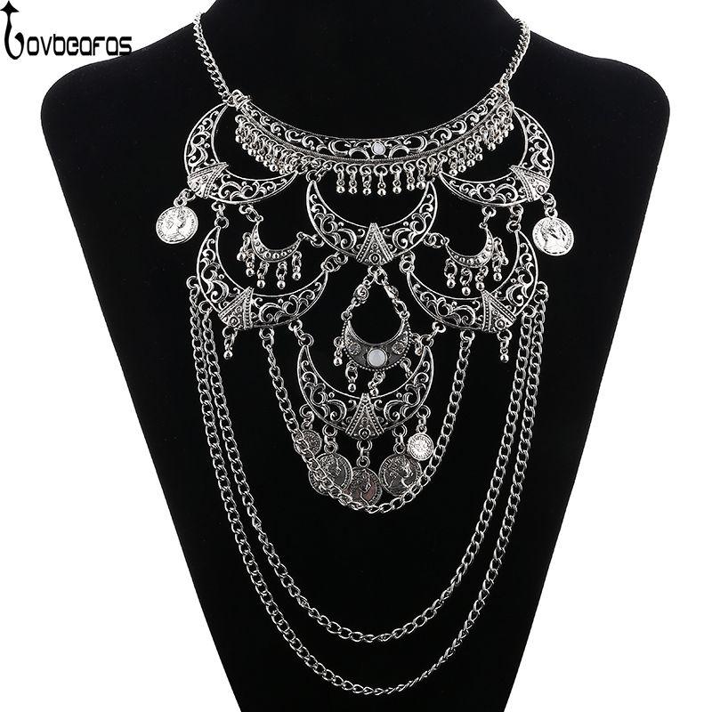 LOVBEAFAS Collares 2018 Mode Boho Maxi Choker Collier Femme Collier Vintage Colar Déclaration Collier Femmes Beaux Bijoux
