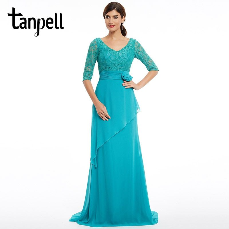 Tanpell sweep train evening dress new blue v neck half sleeves floor length dress flowers lace a line formal party evening gown