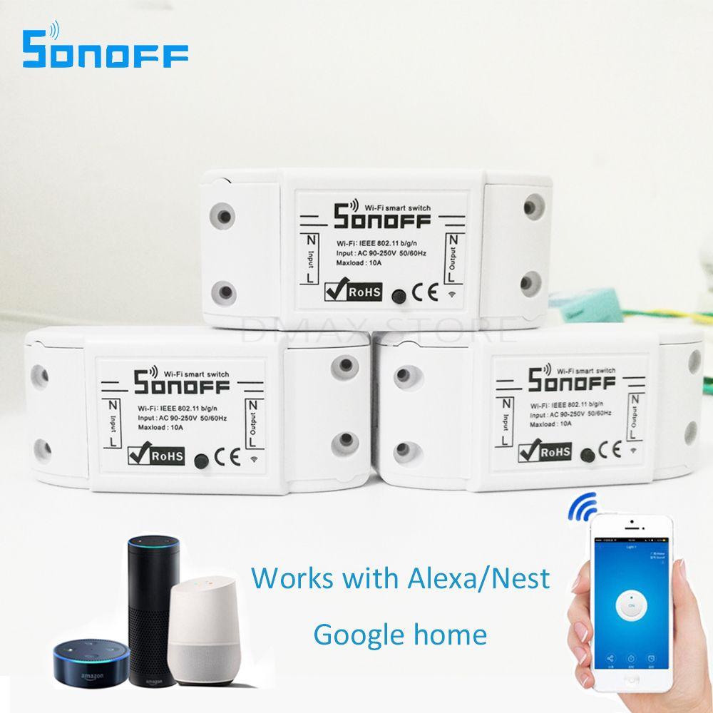 3 pièces Module domotique intelligent sonoff commutateur Wifi minuterie universelle commutateur sans fil télécommande Via IOS Android 10A/2200 W