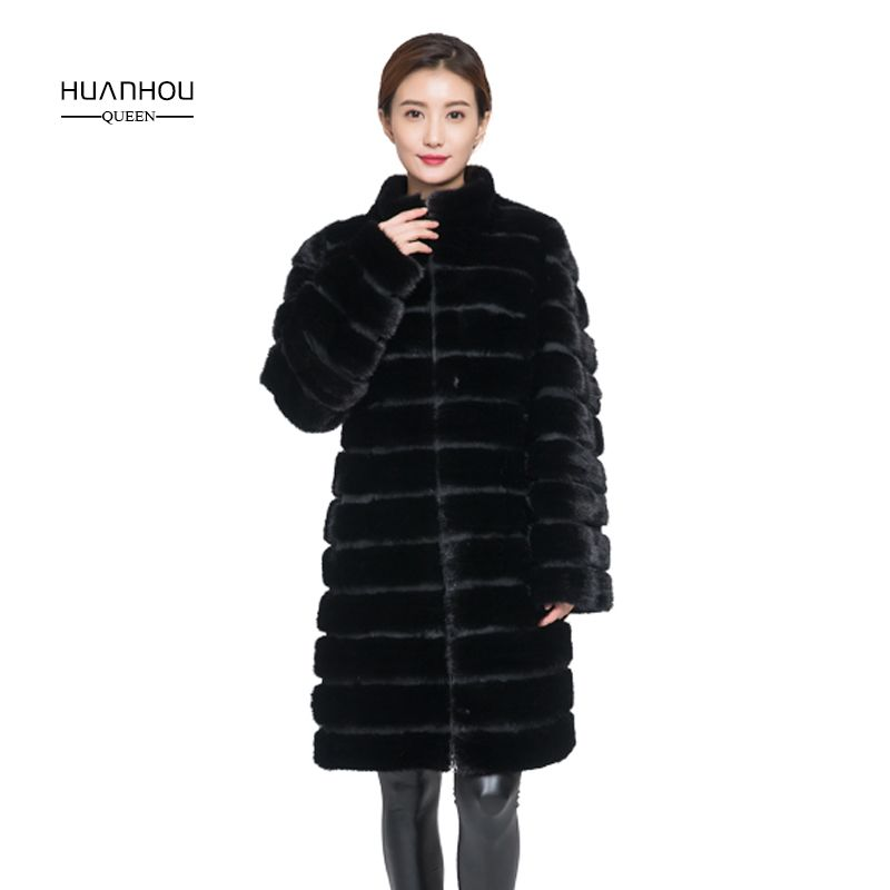 Huanhou queen real mink fur coat for women,long style,collar or with hood , extra large plus size women winter coat jacket