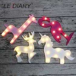 LEDIARY animales novedad llevó 3D noche unicornio Flamingo Reno decoración jirafa niños noche lámpara niños juguete AA