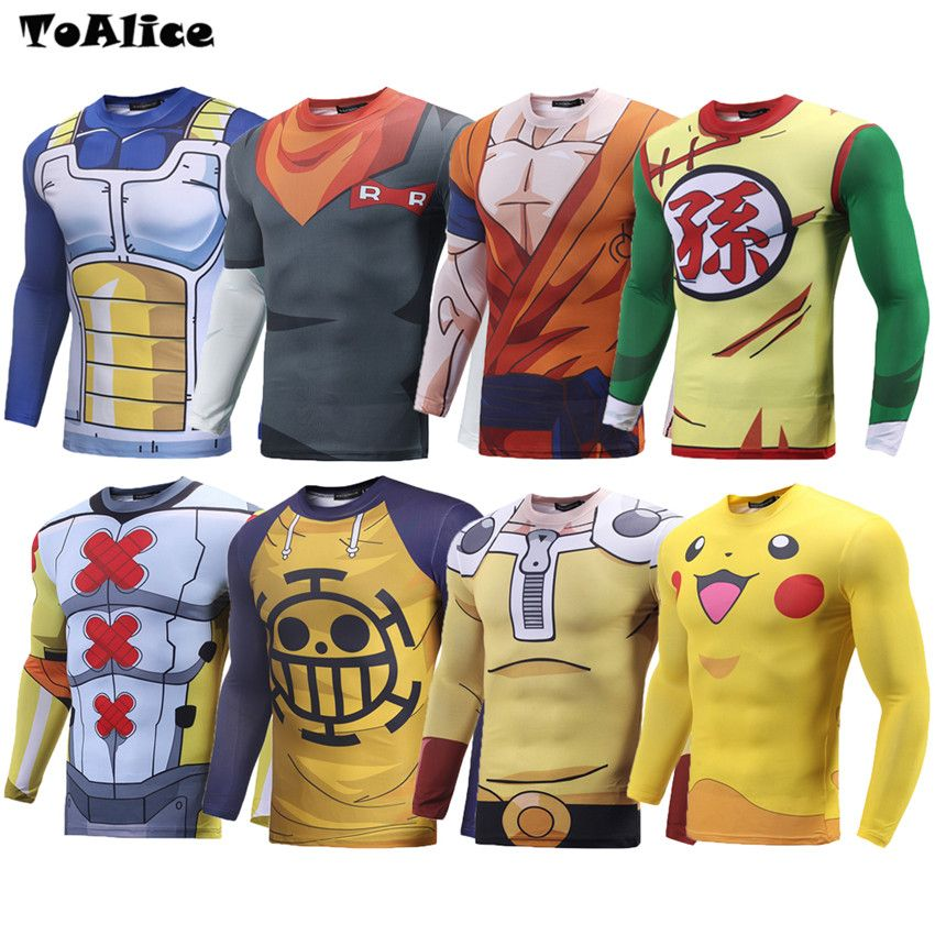 Wholesale Brand 3D Anime T shirt Funny Tshirts Dargon Ball Pokemon One Piece Naruto One Punch Man Print Tight T-shirt Clothing