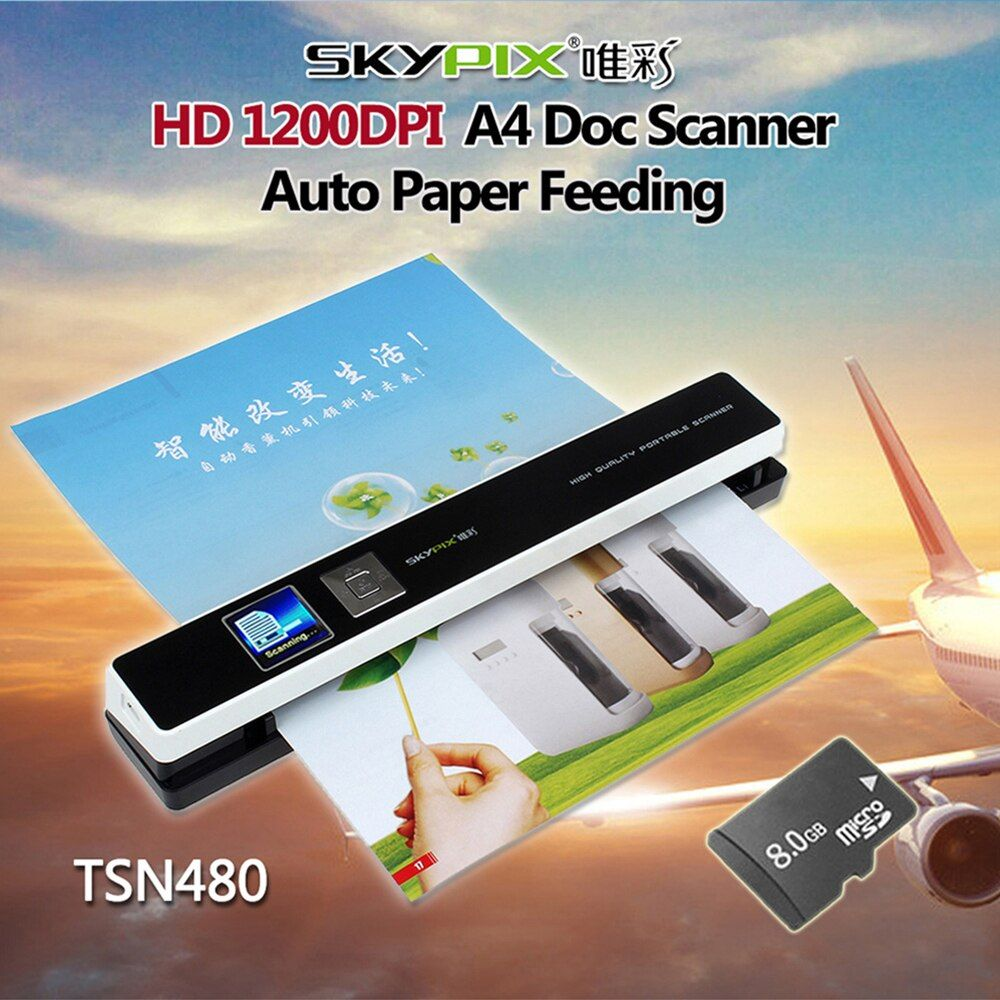 Skypix TSN480 Auto Papier Fütterung HD 1200 DPI A4-dokumentenscanner mit 8 GB MicroSD Tf-karte Tragbare A4 Scanner Mit 8 GB karte